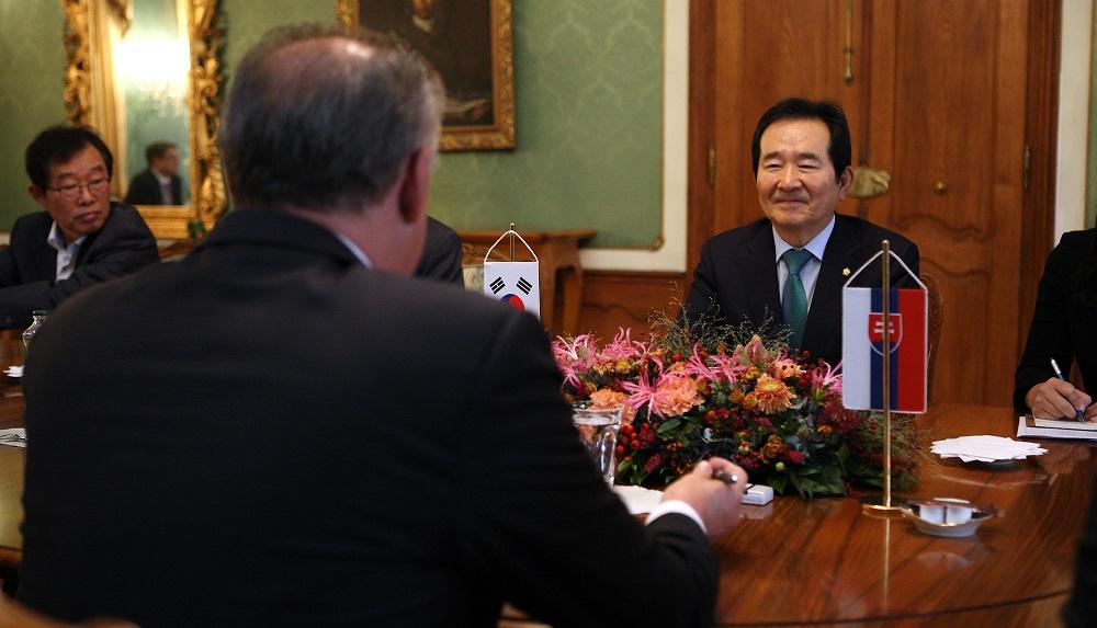 Kiska prijal predsedu Národného zhromaždenia Kórejskej republiky