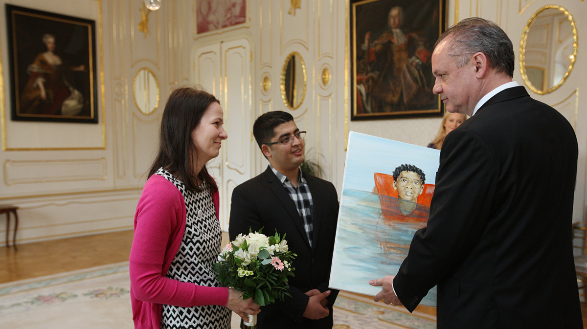 Kiska prijal Zuzanu Števulovú, laureátku Women of Courage Award