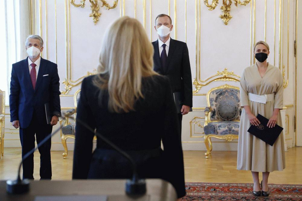 The president presented credentials to three new ambassadors